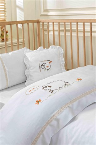Ecocotton Little Sheep Bebek Nevresim Seti Ekru 100*150 cm